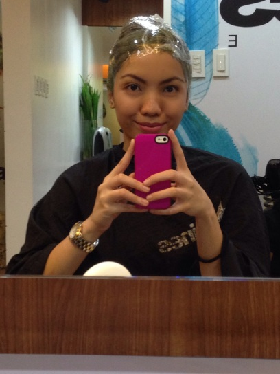 While waiting for the hair dye to take effect!