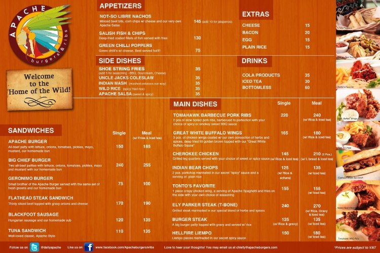 Apache Burgers and Ribs Menu
